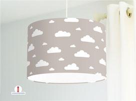 Lampe Wolke Kinderzimmer in Graubraun aus Bio-Baumwollstoff  - alle Farben möglich
