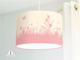 Lampe für Mädchen und Kinderzimmer mit Blumenwiese in Altrosa aus Baumwolle - alle Farben möglich