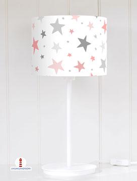 Lampenschirm für Tischlampe Kinderzimmer Sterne Altrosa und Grau auf Weiß aus Baumwolle - alle Farben möglich