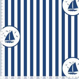 Bio-Stoff maritim für Kinder und Babys mit Segelbooten und Streifen in Blau Weiß zum Nähen