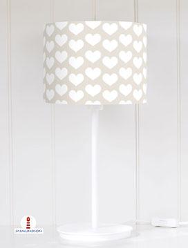 Lampenschirm für Tischlampe Kinderzimmer Mädchen Herzen in Weiß und Beige aus Baumwolle - alle Farben möglich