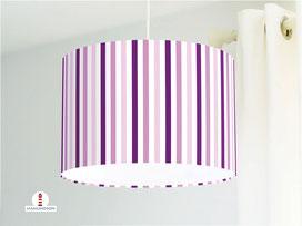 Lampe für Mädchen Kinderzimmer und Schlafzimmer gestreift in Lila aus Baumwolle - alle Farben möglich