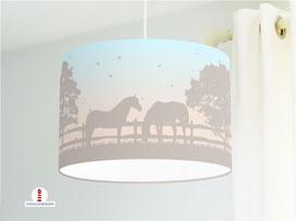 Lampe Kinderzimmer Pferde in Pastell aus Bio-Baumwollstoff - alle Farben möglich