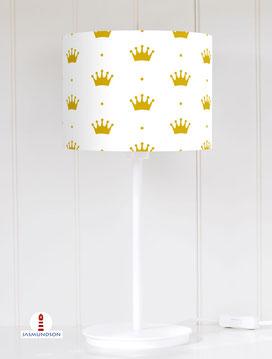 Lampenschirm für Tischlampe Mädchen Prinzessin Krone Gold aus Baumwolle - alle Farben möglich