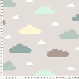 Bio-Stoff für Babys und Kinderzimmer mit Wolken in Salbei und Mint auf Grau zum Nähen aus Baumwolle - alle Farben möglich