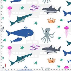 Stoff Tiere Meer Kinderzimmer Wal aus Baumwolle - alle Farben möglich