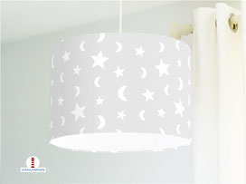 Lampe Sterne und Mond auf hellem Grau aus Baumwolle - alle Farben möglich