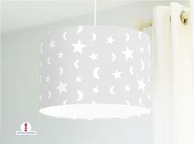 Lampe Sterne und Mond auf hellem Grau aus Bio-Baumwolle - alle Farben möglich