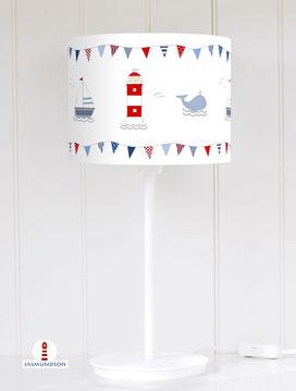 Lampenschirm für Tischlampe für Kinderzimmer mit Leuchtturm Wal und Segelboot aus Baumwollstoff - alle Farben möglich
