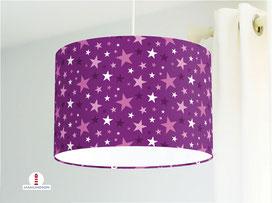 Lampe Kinderzimmer Sterne in Lila und Rosa aus Bio-Baumwollstoff - alle Farben möglich
