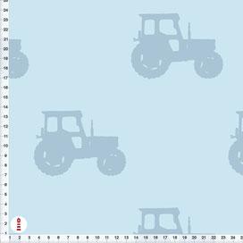 Bio-Baumwolle Bio-Stoff Junge mit Traktoren in Blau-Grau zum Nähen - alle Farben möglich