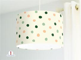 Lampe Kinderzimmer Punkte in Mint, Lachs und Grün auf Beige aus Bio-Baumwolle - alle Farben möglich