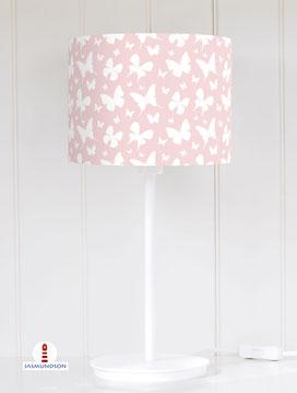 Lampenschirm für Tischlampe Kinderzimmer Mädchen Schmetterlinge Altrosa aus Baumwollstoff - alle Farben möglich