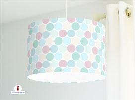 Lampe Kinderzimmer gepunktet Pastell aus Bio-Baumwolle - alle Farben möglich