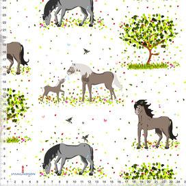Stoff für Mädchen mit Pferden zum Nähen für Mädchen - alle Farben möglich