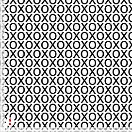 Bio-Stoff Kinderzimmer Mädchen XOXO Schwarz-Weiß aus Baumwollstoff - alle Farben möglich