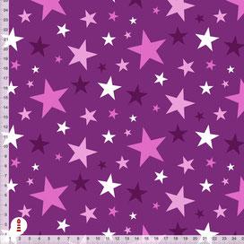 Bio-Baumwolle Stoff Sterne in Pflaume zum Nähen - alle Farben möglich