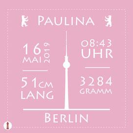 Personalisiertes Geburtskissen Panel Berlin zum Selbernähen für Babys in Rosa aus Baumwollstoff - alle Farben und Namen möglich - DIY