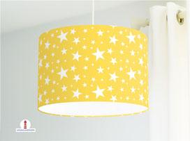 Lampe für Kinderzimmer mit Sternen in Gelb aus Baumwollstoff - alle Farben möglich
