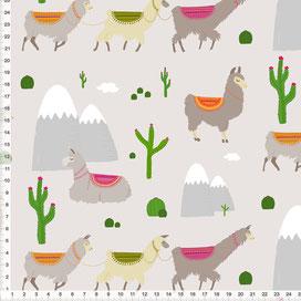 Bio-Stoff für Kinder mit Lamas auf hellem Graubeige zum Nähen - alle Farben möglich