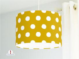 Lampe Kinderzimmer Punkte Ocker aus Bio-Baumwollstoff - alle Farben möglich