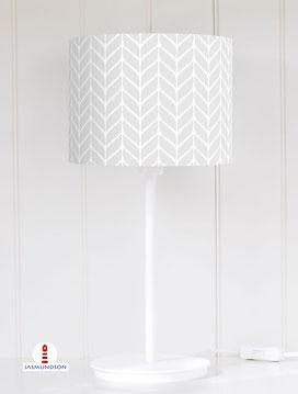 Lampenschirm für Tischlampe Strickmuster geometrisch in Hellgrau aus Baumwollstoff - alle Farben möglich