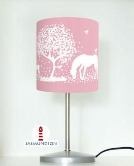 Nachttischlampe für Schlafzimmer und Mädchen mit weißen Pferden auf hellem Altrosa aus Baumwolle - andere Farben möglich
