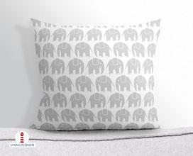 Kissen für Babys und Kinder mit Elefanten in Grau und Weiß aus Baumwollstoff - andere Farben und Namen möglich