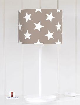 Tischlampe Kinderzimmer große Sterne Grau-Braun aus Baumwolle - alle Farben möglich