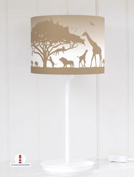 Lampenschirm für Tischlampe Kinderzimmer Safari Tiere aus Baumwolle - alle Farben möglich