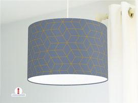 Lampe Muster Würfel Schlafzimmer Graublau Ocker aus Baumwollstoff - alle Farben möglich