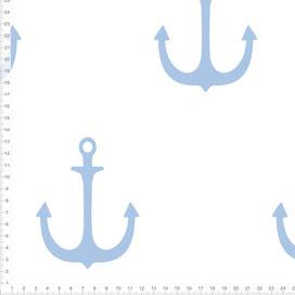 Bio-Stoff maritim mit Ankern in Hellblau und Weiß zum Nähen