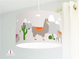 Lampe für Kinderzimmer mit Lamas  aus Baumwollstoff - alle Farben möglich