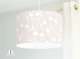 Lampe Mädchenzimmer Blumen Vögel Weiß auf hellem Beige aus Baumwolle - alle Farben möglich