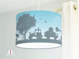 Lampe Traktor Bauernhof für Jungs und Kinderzimmer aus Bio-Baumwolle - alle Farben möglich