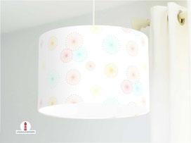Lampe für Kinderzimmer und Mädchen mit Blumen in Pastellfarben aus Bio-Baumwolle - alle Farben möglich