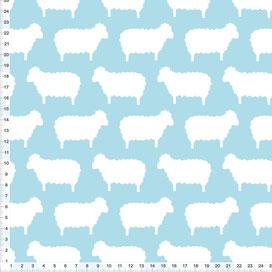 Bio-Stoff für Babys und Kinderzimmer mit weißen Schafen auf hellem Graublau zum Nähen aus Baumwolle - alle Farben möglich