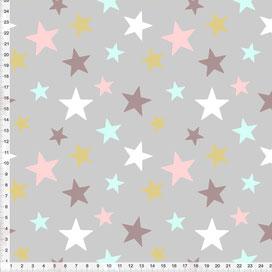 Bio-Stoff fürs Kinderzimmer mit Sternen in Altrosa Türkis Ocker auf Grau zum Nähen - alle Farben möglich
