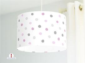 Lampe Kinderzimmer Punkte in Violett und Grau aus Baumwolle - alle Farben möglich