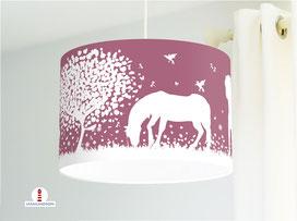 Lampe Pferde Kinderzimmer in dunklem Altrosa aus Bio-Baumwollstoff - alle Farben möglich