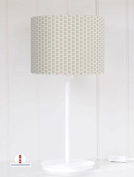 Lampenschirm für Tischlampe Muster geometrisch Quadrate in Grau-Braun aus Baumwolle - alle Farben möglich