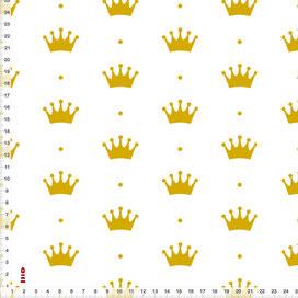 Stoff Kinderzimmer Mädchen Prinzessin Krone Gold zum Nähen aus Baumwolle - alle Farben möglich