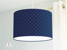 Lampe für Schlafzimmer mit Muster in dunklem Blau aus Baumwollstoff - alle Farben möglich