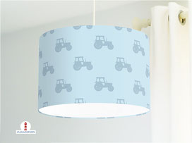 Lampe Traktor für Jungs und Kinderzimmer aus Bio-Baumwolle in Grau-Blau - alle Farben möglich