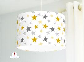 Lampe für Schlafzimmer und Kinderzimmer mit Sterne in Ocker und Grau aus Bio-Baumwollstoff - andere Farben möglich
