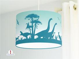 Kinderzimmer Lampe Dinosaurier in Petrol und Türkis aus Bio-Baumwolle - alle Farben möglich