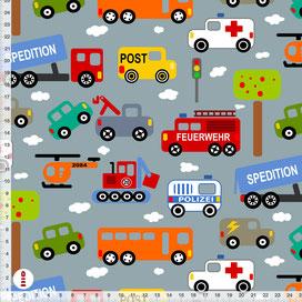 Bio-Stoff Kinderzimmer Junge Autos Feuerwehr Polizei aus Baumwollstoff - alle Farben möglich