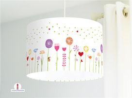 Lampe Kinderzimmer Blumen Mädchen auf Weiß aus Bio-Baumwolle - alle Farben möglich