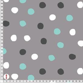 Bio Stoff Jersey Sweat Kinderzimmer Punkte Türkis Weiß Grau aus Bio-Baumwolle zum Nähen - alle Farben möglich