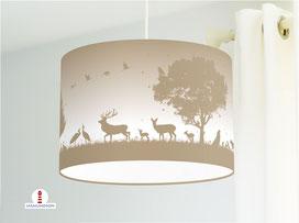 Kinderzimmer Lampe Wald Tiere in Cappuccino aus Baumwollstoff - alle Farben möglich